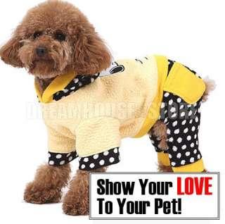 Dog Hoodie Fleece Jumpsuit Coat Clothes anysz Yellow