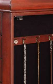 Locking Jewelry Armoire Cabinet. Cherry Jewelry Armoire with 8 Drawers