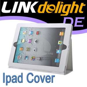 White PU Leather Case Smart Notebook Cover For Apple iPad 2 W EP06