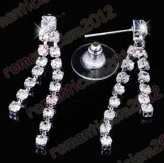 Free Clear choker necklace earring set Czech rhinestone