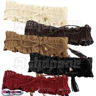 Fashion Lady Wide Elastic Stretch Fringe Lace Belt Waistband