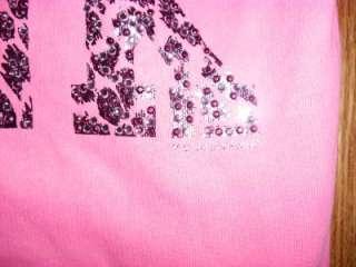 Victorias Secret LOVE PINK Leopard BLING Hoodie Neon Crystal