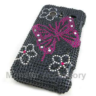 Pink Butterfly Bling Hard Case For HTC Droid Incredible