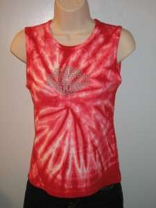 HARLEY DAVIDSON Sparkling Logo Tie Dyed Tank Top Sz M   L Womens NWOT