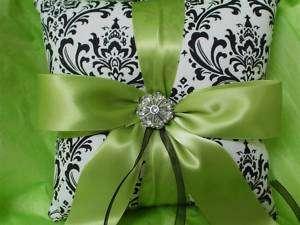 Black White Damask Lime Green Ring Bearer Pillow Bridal