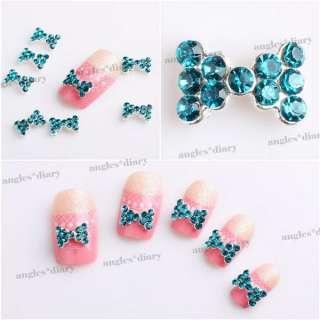 10pcs Blue 3D Alloy Rhinestones Bow Tie Nail Art Glitters Slices DIY