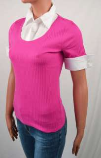 Ralph Lauren PINK SHORT SLEEVE SWEATER w/ SHIRT NWT M