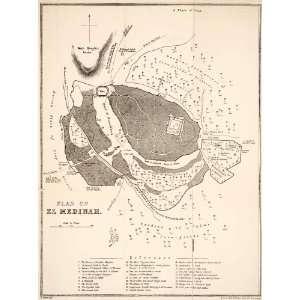 1879 Print Map Medina Saudi Arabia Plan City El Medinah