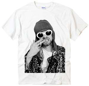 Kurt Cobain Ciggy rock punk band nirvana photo design white t shirt