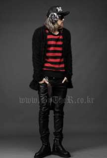 Mens Waxed Coated Black Pants Rope Placket Gothic Rock Style