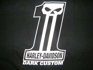 HARLEY DAVIDSON SHIRT #1 AND SKULL dark custom M L XL