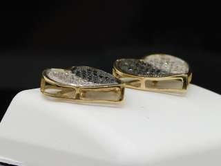 LADIES YELLOW GOLD HEART LOVE DIAMOND EARRINGS STUDS