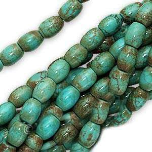 Blue Turquoise Gem Barrel Beads 6mm Stabilized /15.5 Inch