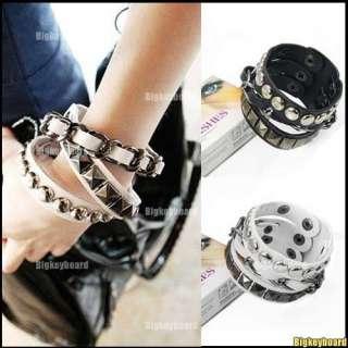Punk Rock Multi Layers Circles Stud Chain Leather Wristband Bracelet