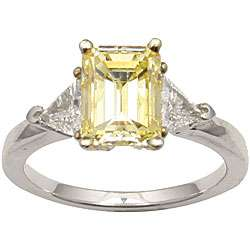 14k Gold 2 3/4ct TDW Yellow Emerald cut Diamond Ring (Size 6.5