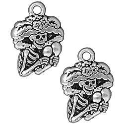 Pewter Dia de los Muertos Catrina Charms (Set of 2)