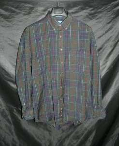 Worsted Wool Shirt Dark Green Blue Red Plaid Mens LG Winter work
