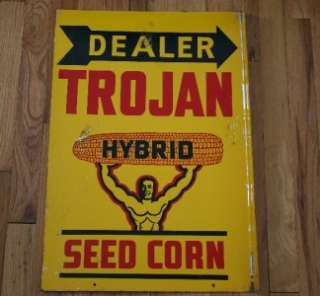 60s TROJAN HYBRID Seed Corn Advertising 2 Sided Flange Sign