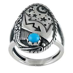 Sterling Silver Turquoise Accent Moon and Stars Ring