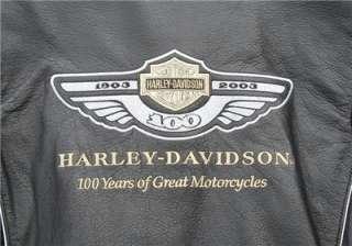 100th Anniversary Harley Davidson Black Leather Jacket
