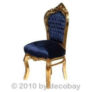 , antique style chair, navy blue velvet. Solid wood antique g