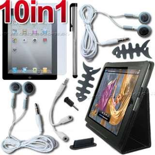 10 ACCESSORY LEATHER CASE+SCREEN COVER FOR APPLE IPAD 2