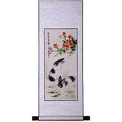Rabbits and Spring Flowers Wall Art Scroll Painting (China
