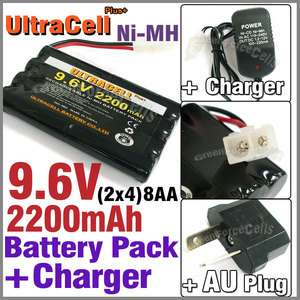 2x4 8AA 2200mAh NI MH Rechargeable Battery Pack Tamiya RC + Charger AU