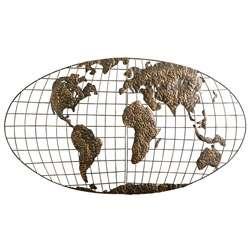 Iron World Map Wall Sculpture