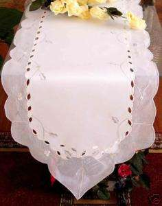 Special Christmas white silver bell table runner 15x54