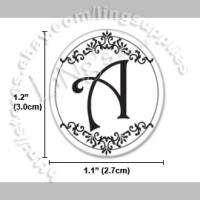 90 Black Initial Monogram Wedding Envelope Sticker Seal
