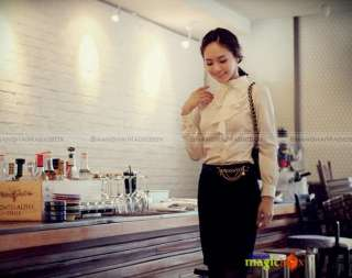 Fashion Long Sleeve Shirt Blouse Top Stand Collar White Black WSHT098