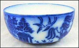Antique ROYAL Doulton FLOW Blue WILLOW Porcelain BOWL England BURSLEM