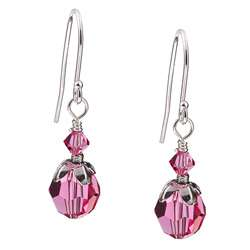 Charming Life Silver October Birthstone Pink Crystal Earrings