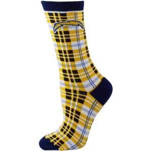 San Diego Chargers Ladies Navy Blue Gold Plaid Socks