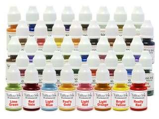 New Tattoo Pigment Ink 40 Bottle Set Kit Black White Red Blue Orange
