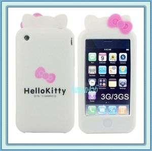Hello Kitty Double Bow Silicone Soft W/Ear Case Cover For iPhone 3G