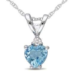 10k White Gold Diamond Blue Topaz Pendant