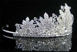 Wedding/Bridal crystal veil tiara crown headband CR186