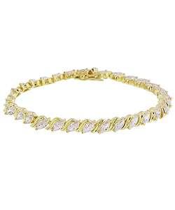 14k Gold Overlay CZ Marquise Tennis Bracelet