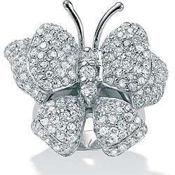 CZ Sterling Silver Cubic Zirconia Butterfly Ring