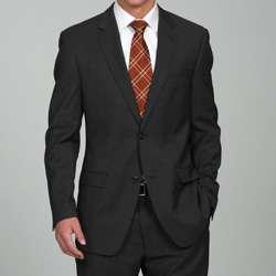 Calvin Klein Mens Slim Fit Black 2 button Wool Suit