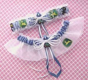 John Deere Blue Wedding Garter Set Green Tractor GifBox