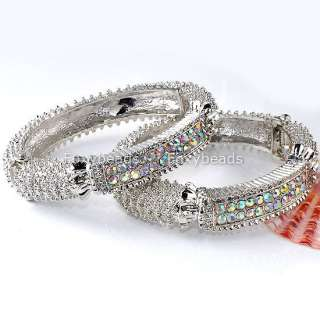 SILVERY CLEAR AB CRYSTAL CUFF BANGLE BRACELET MEN WOMEN UNISEX