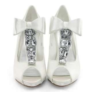 SHOEZY New womens ivory satin wedding bow peep toe platform heels