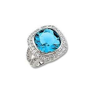 Square Cut Blue Colored CZ Ring with Clear CZ Pave Border Jewelry
