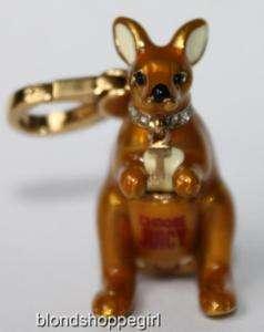 Couture GOLD KANGAROO CHARM Yorkie Scottie Dog Animal Crystal Necklace
