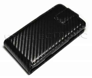 Carbon fiber flip Leather case Holster for Samsung S8530 Wave 2