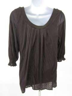 BORDEAUX Brown Scoop Neck Top Blouse Shirt Sz M/L