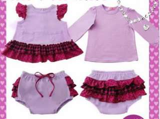 Girl Baby Clothes 3 PCS Ruffle Top Dress Pants Set Size0 4Y New